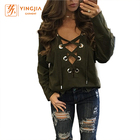 New Design Women Shirts Plain Color V Neck Eyelet Cross Straps Fashion Women Shirt Full Sleeve Sexy Women Blouse and Tops