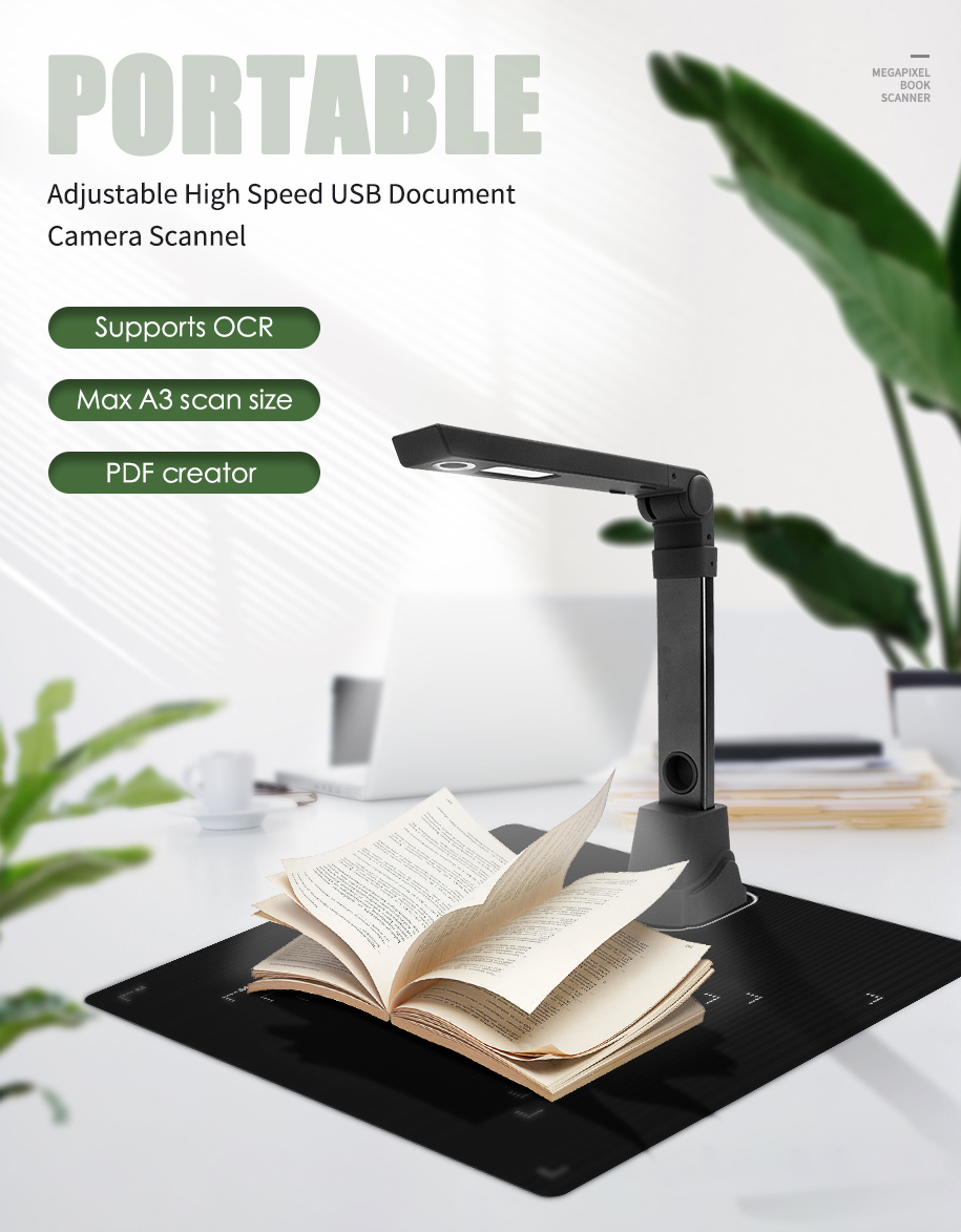SD-2000 10 Million Pixel High Resolution A4 CMOS Folding Camera Scanner Document Scanner With Camera And Video Recorder