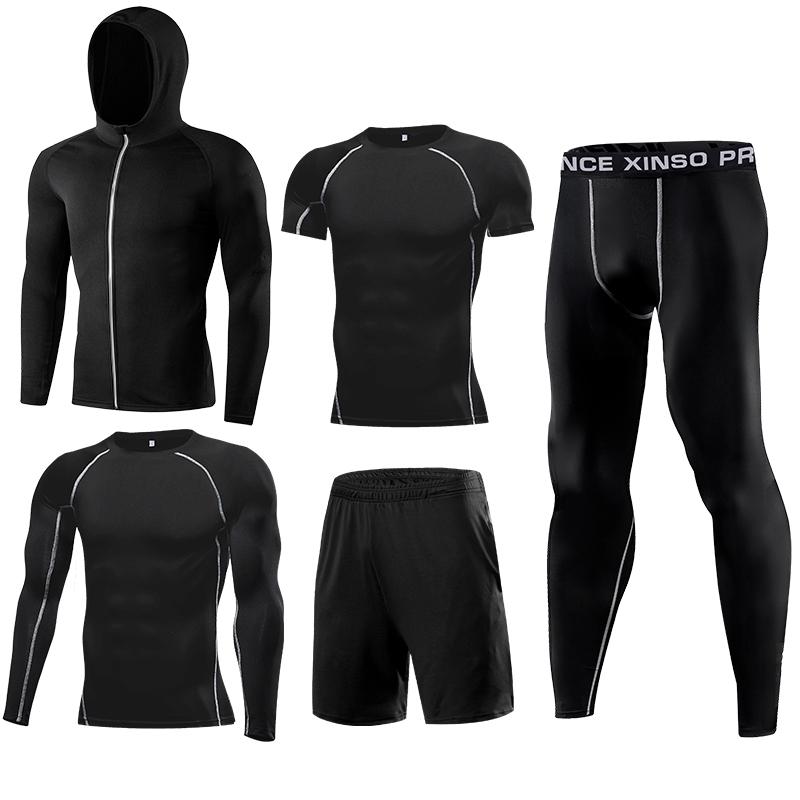 جودة عالية الساخن بيع 5 قطعة ضغط رداء ضيق للجيم رياضية الرجال لياقة الملابس