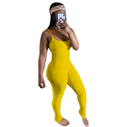 European and American one piece bodycon jumpsuit pleated jumpsuit sleeveless bodysuit