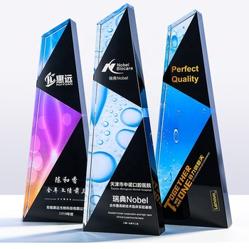 China supplier red blue color star blank crown metal awards customized 3d glass plaque crystal trophy