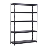 Cheap price Black 5 layer boltless shelf warehouse Angle steel light duty rack, storage rack