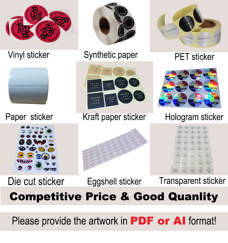 Quality waterproof glossy vinyl self adhesive sticker