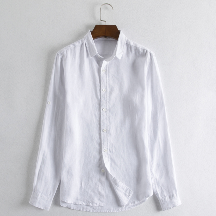 Spring Men's Casual Solid Color Breathable Linen Long-sleeved Shirt Man Plus Size Shirts
