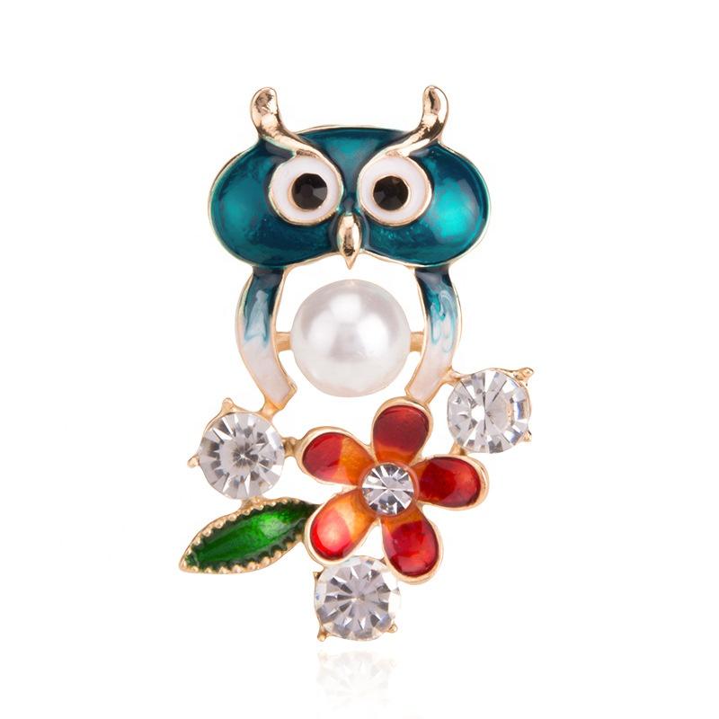 Vintage Femmes Oiseaux Chouette Broche épingle Cristal émail insigne Animaux Bijoux Cadeau DD