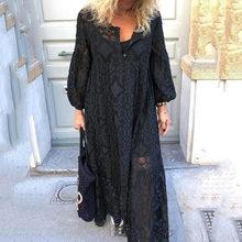 Черные открытые кружевные вечерние платья, женские свободные платья для выпускного вечера, элегантные длинные платья 5XL с длинным рукавом М...(Китай)