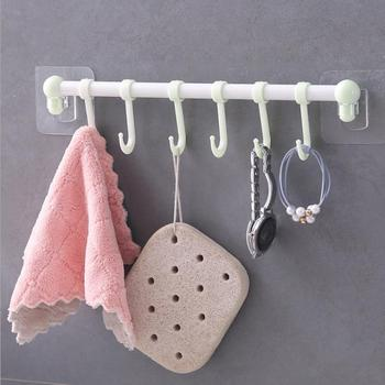 Home plain six over door hook creative seamless plastic hanging clothes hook