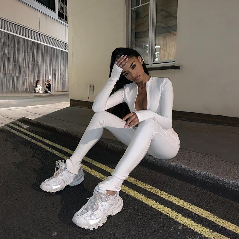 Jumpsuit Wanita Satu Potong Lengan Panjang, Mantel Jumpsuit Wanita Hitam Putih Bodycon Mode Grosir