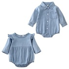 Newborn Baby Boys and Girls denim Romper baby long Sleeves brother and sister Jumpsuit outfits denim Clothes