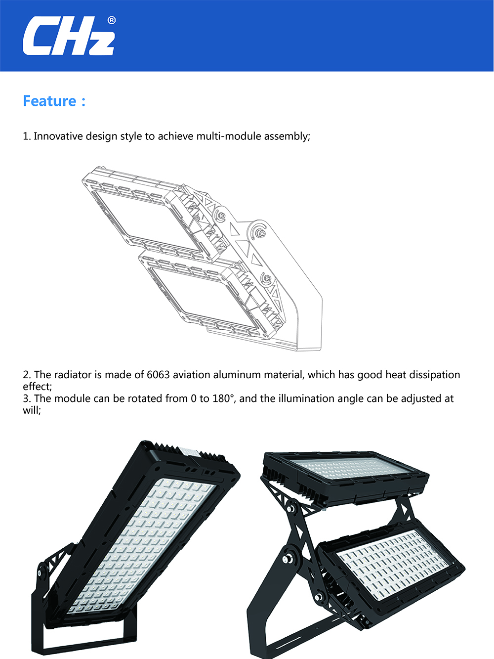 More than 140lm /w adjustable bracket led flood lights