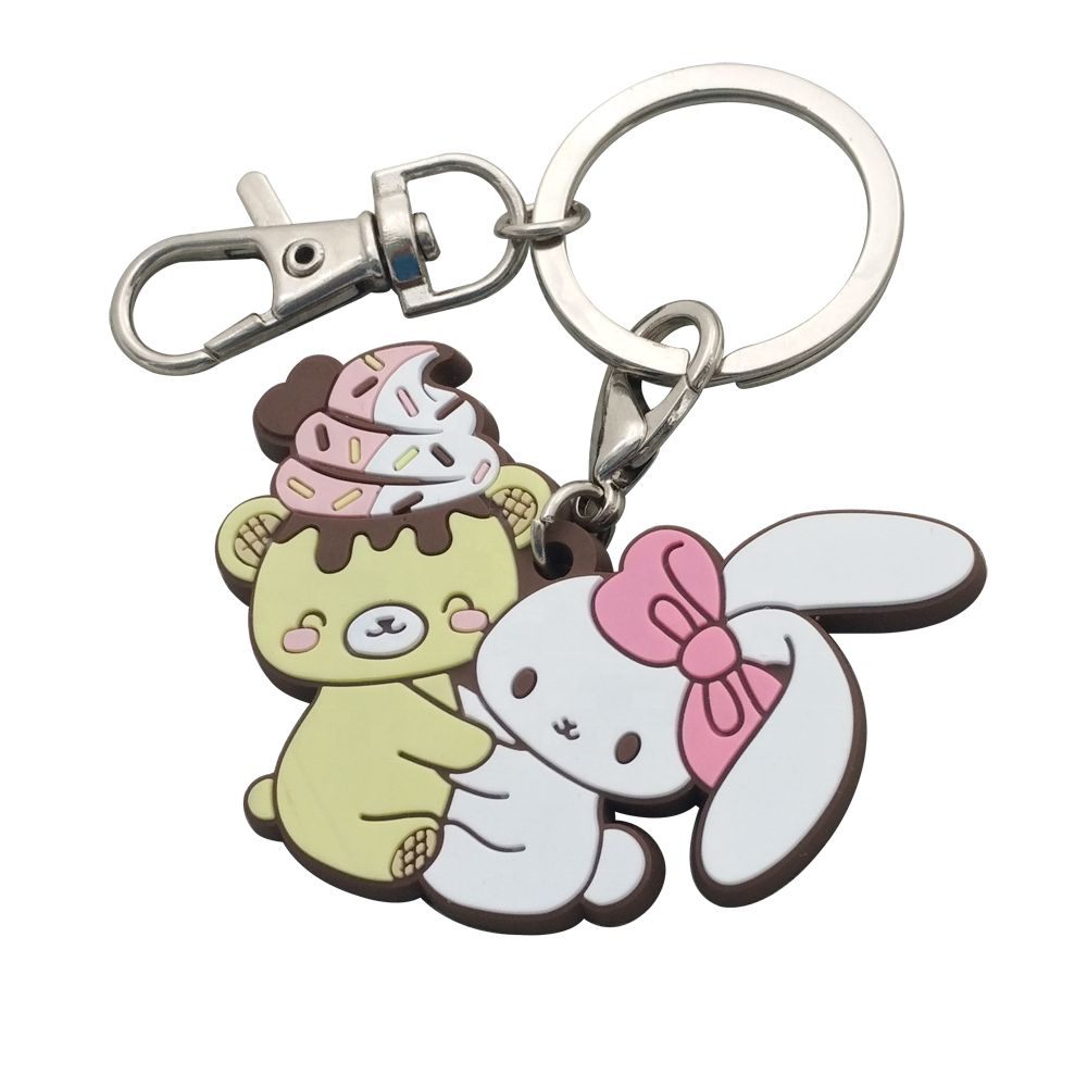 custom printing cute cartoon character anime silicone keychain, Soft rubber Keychains, Silicone Key ring