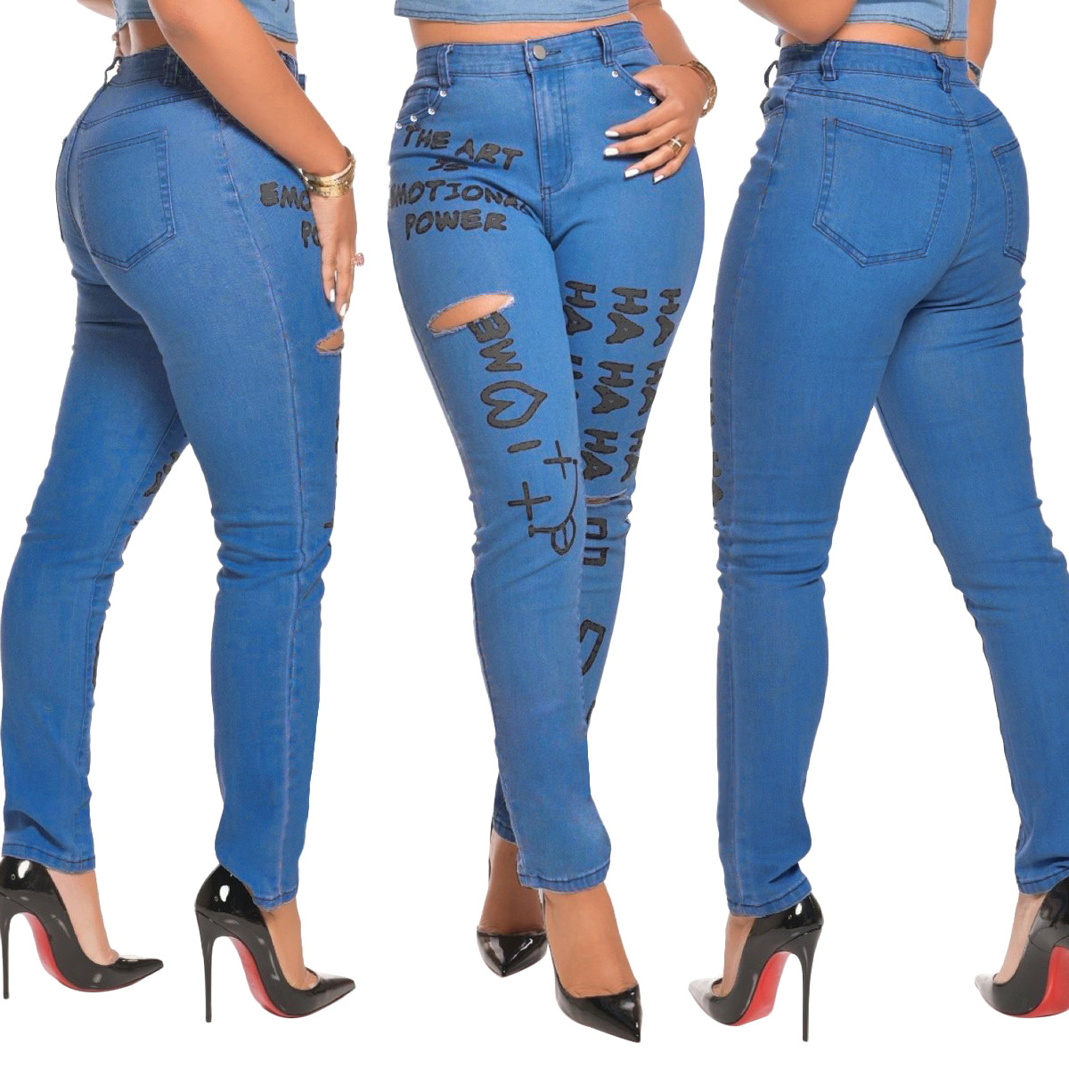 Mallas Con Letras Estampadas Para Mujer Pantalones Vaqueros Rotos Sexy 2020 Buy Jeans De Mezclilla De Alta Calidad Para Mujer Jeans De Tela Jeans De Mujer Product On Alibaba Com