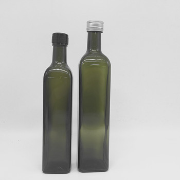 Square Shape Glass Olive Oil Bottles Dark Green Color 100ML 250ML 500ML 750ML 1000ML With Lid