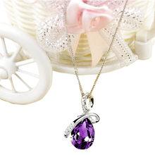 Новая мода 2020 Серебряный кулон для женщин леди горный хрусталь цепочка со стразами ожерелье Ювелирная подвеска collares de moda naszyjnik(Китай)
