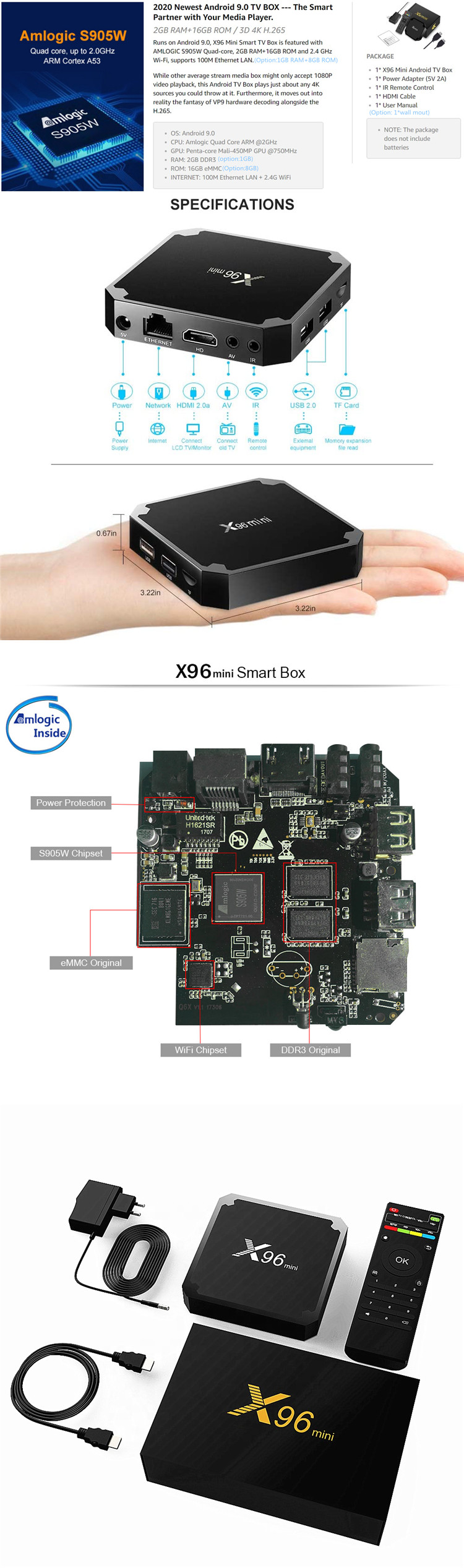 MINI Android TV box X96 mini s905w 1G8G android 9.0 customized launcher supported android OEM TV box
