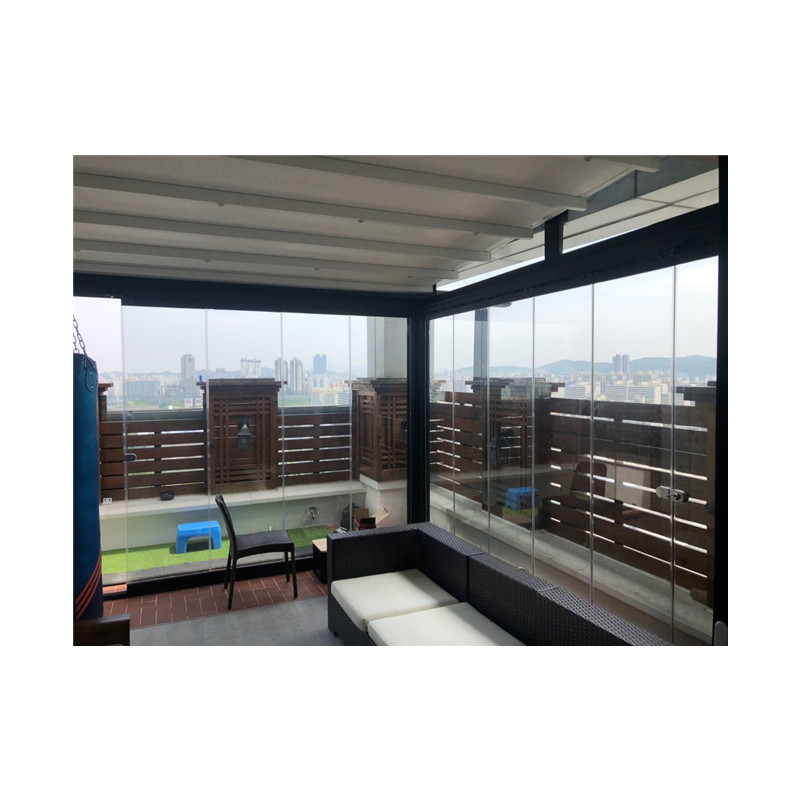 Good looking frameless glass sliding folding French terrace <strong>door</strong> with aluminum profile 3m high
