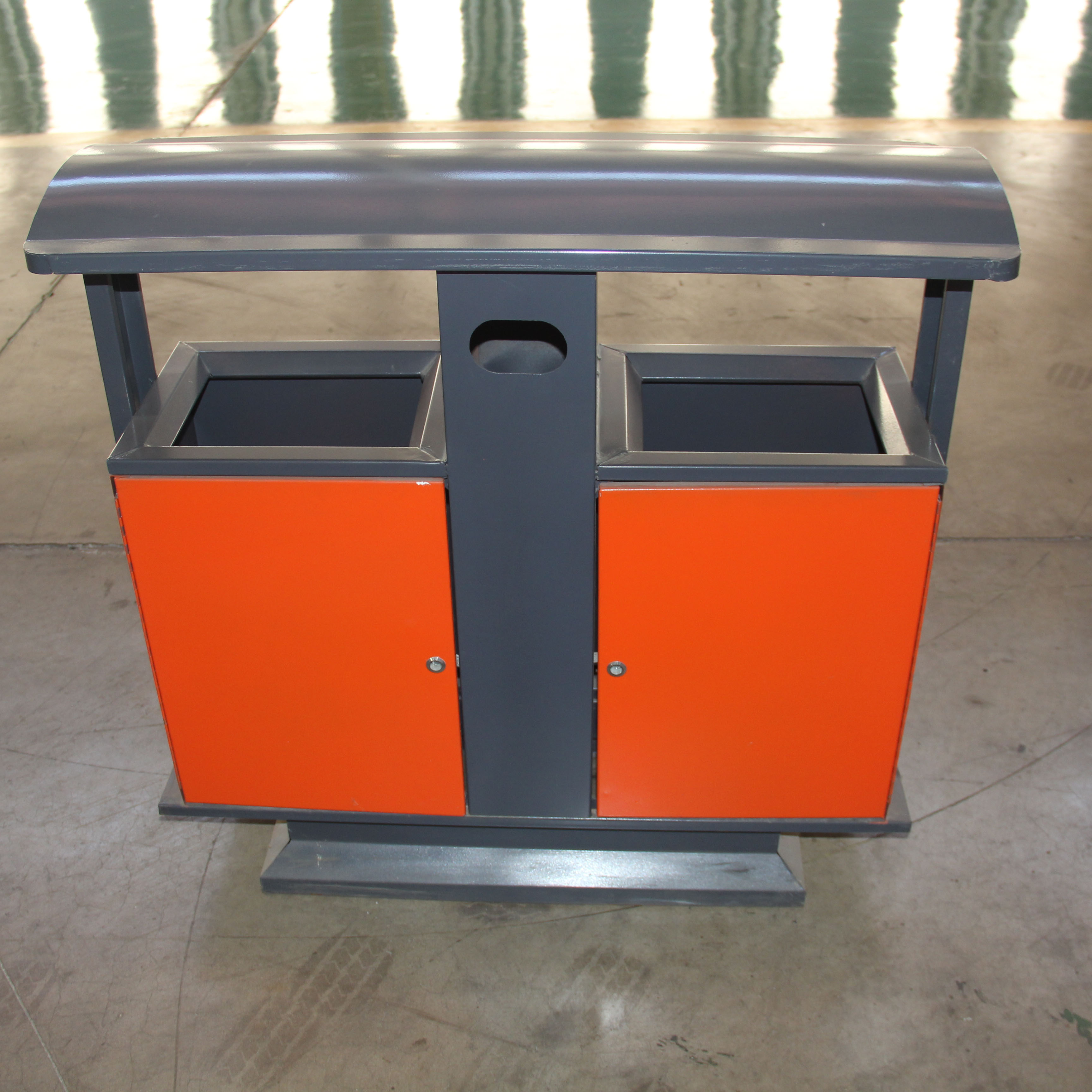 Metall outdoor recycle zwei fach mülleimer bin