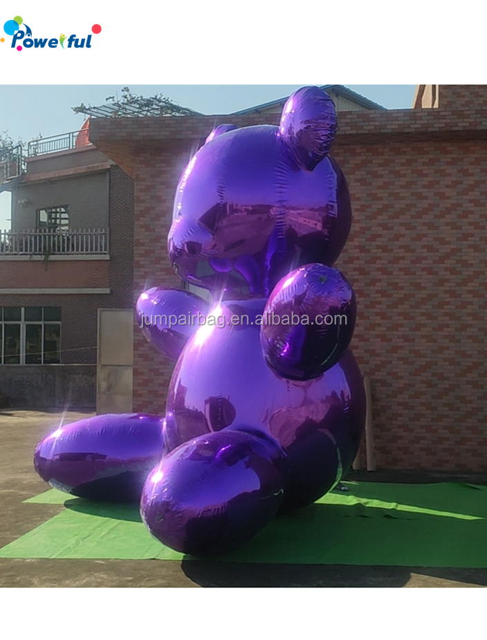 Colorful giant inflatable mirror bear balloon decoration