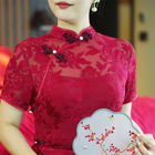 Wedding Dress Handmade Chinese Wine Red Sexy Long Lace Ethnic Wedding Clothing Women Silk Cheongsam Qipao Dress