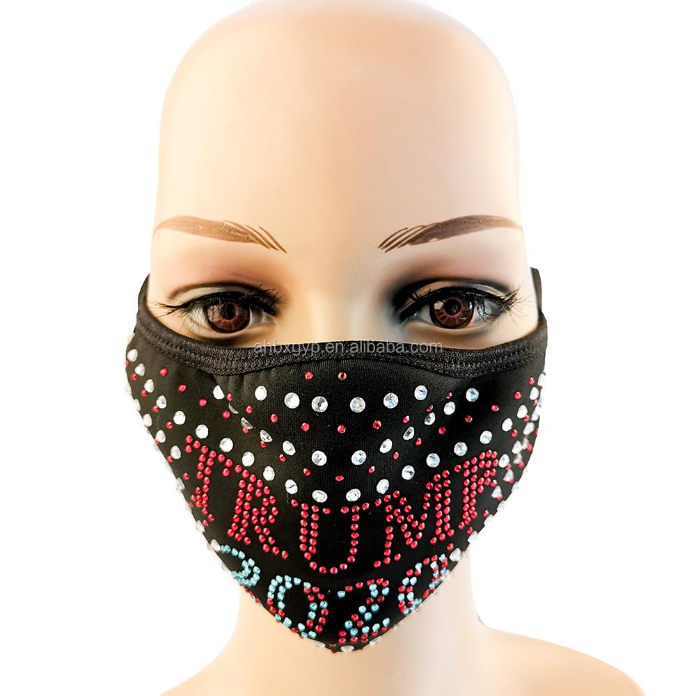 Trump bling strass gesichtsmaske mit filter einfügen diamant kristall strass mode gesicht abdeckung