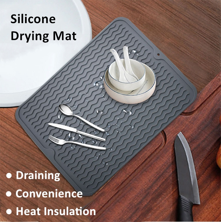 Amazon Hot Selling 30*40CM Food Grade Large Silicone Dish Drying Mat Dish Draining Mat Sink Mat Silicone Trivet