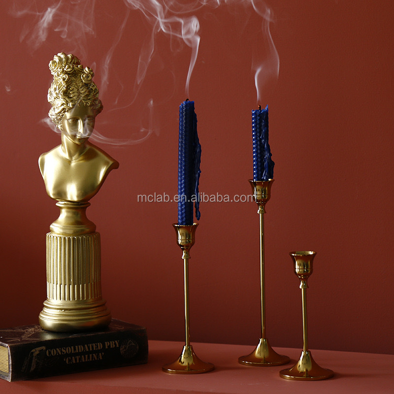 Luxury Retro Wrought Iron Plating Brass Candlestick Candle Tool Candleholder