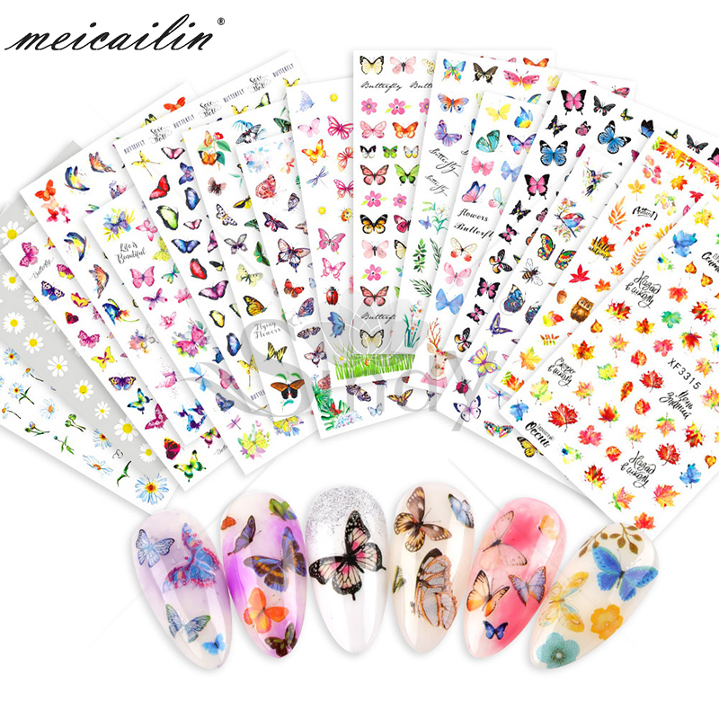 16 designs Colorful Butterfly 3D Self Adhesive <strong>Nail</strong> <strong>Sticker</strong>
