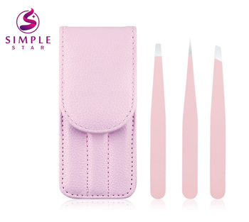 Simple Star 3pcs Professional eyelash tweezer eyebrow tweezer ชุดอุปกรณ์เสริมความงาม tweezer