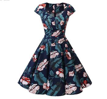 Women's Retro dresses 50s 60s A Line Rockabilly Dress Cap Sleeve Floral Vintage Swing Party Dress