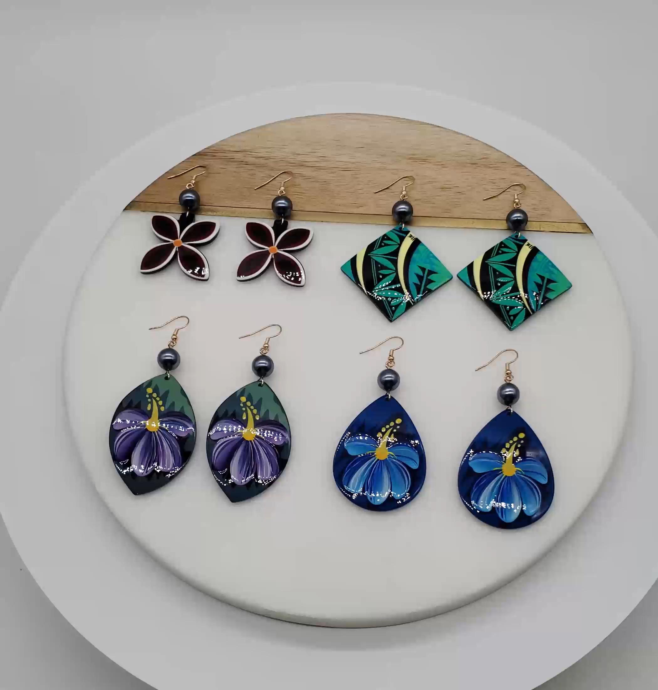 Stylish New Design Acrylic Flower Pattern Custom Hawaiia Jewelry Earrings For Women