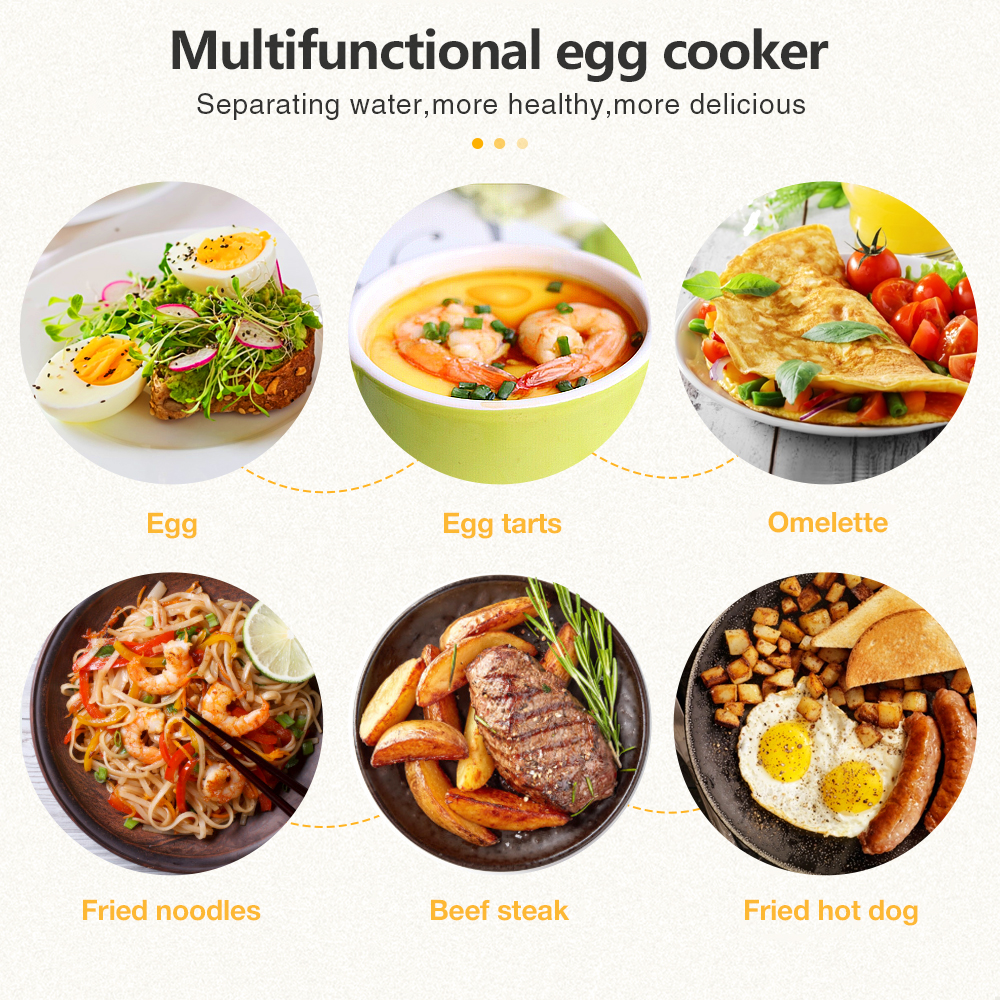Double Layer Mini Electric Egg Boiler Non-stick Frying-pan Rapid Egg Cooker for 14 Eggs