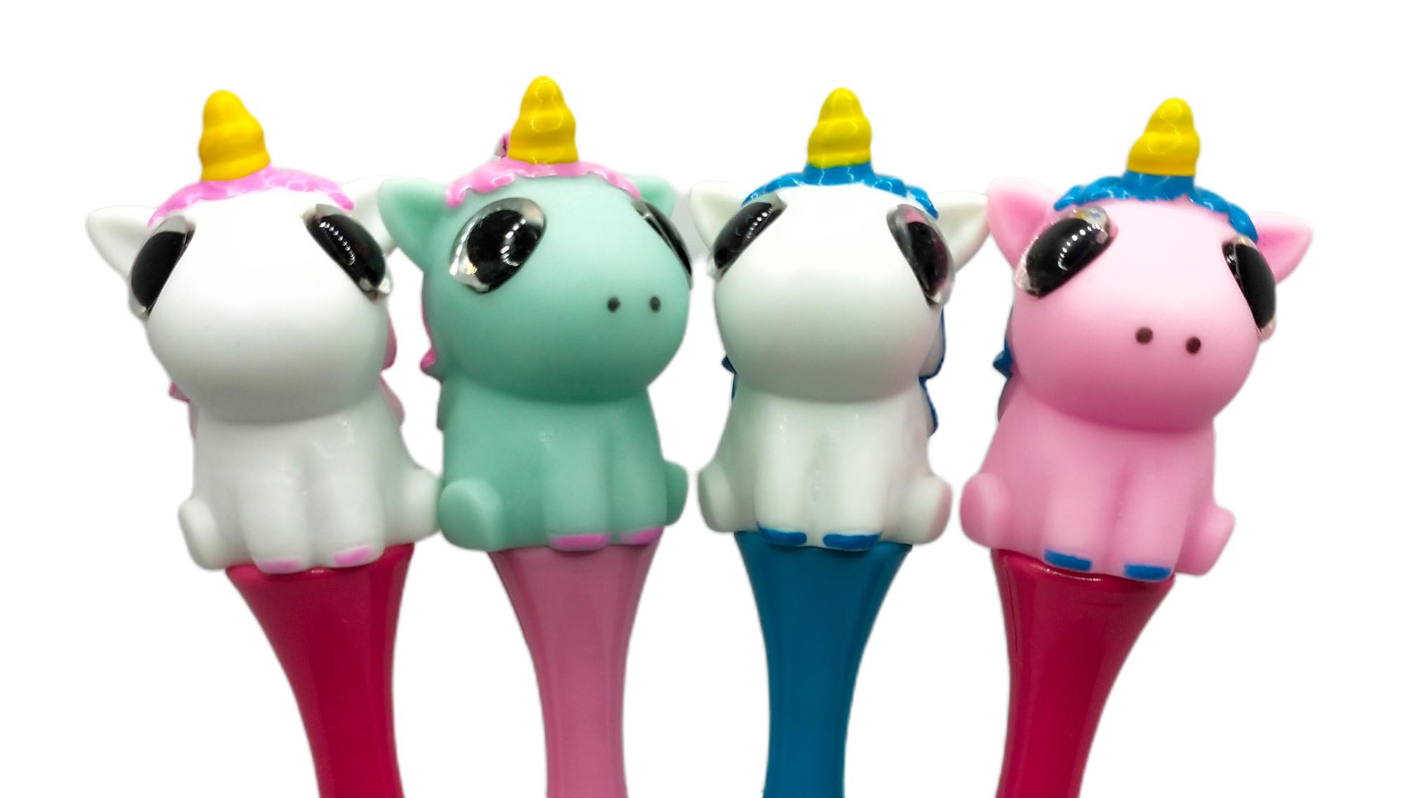 חדש חידוש 3D Unicorn צורת קריקטורה Pvc לסחוט העין פופ החוצה ילדים צעצוע עט לקידום
