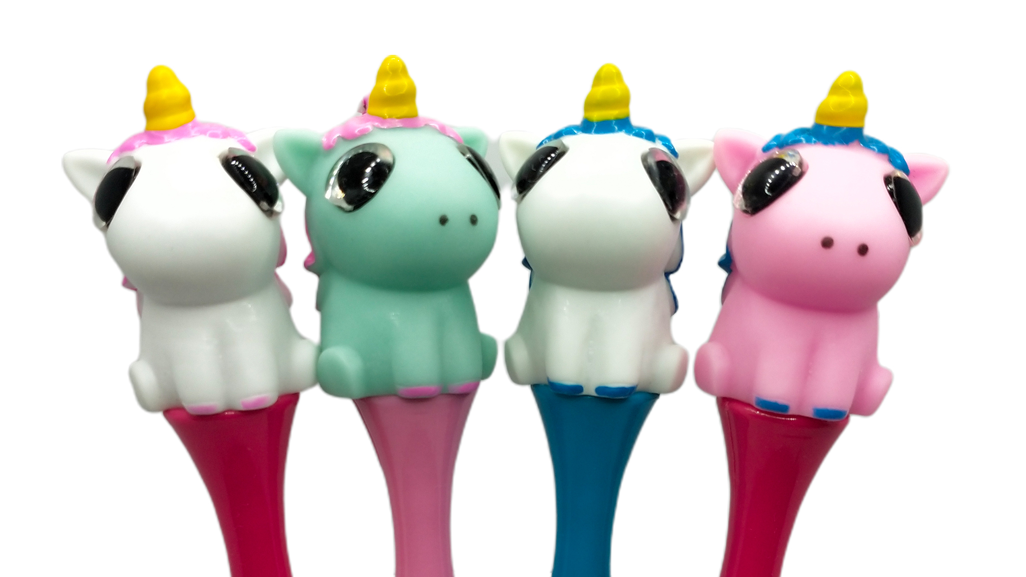Customized Manufacturer directly sale plastic coloful unicorn pen with glitter eye