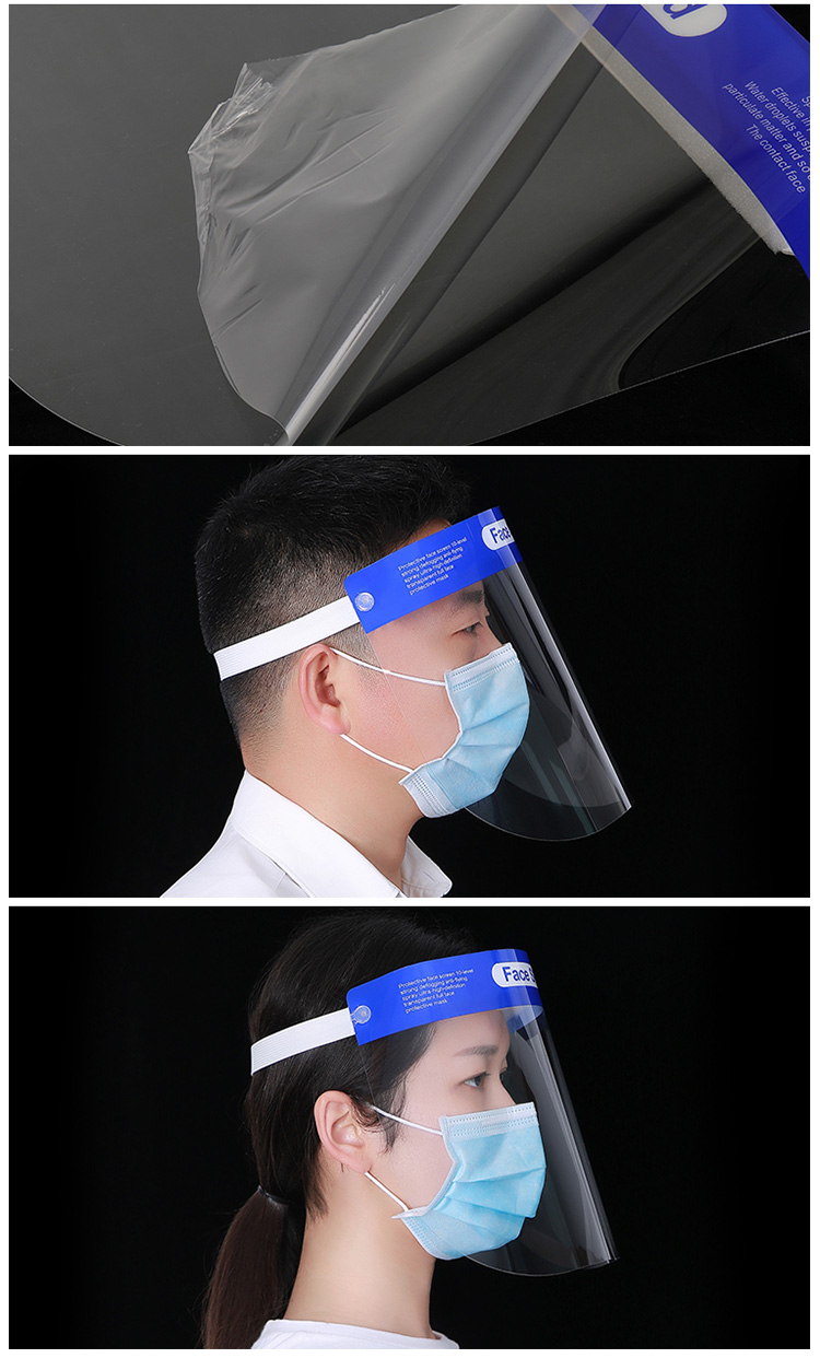 Disposable Clear Plastic Transparent Protective Face Shield Mask Wholesale