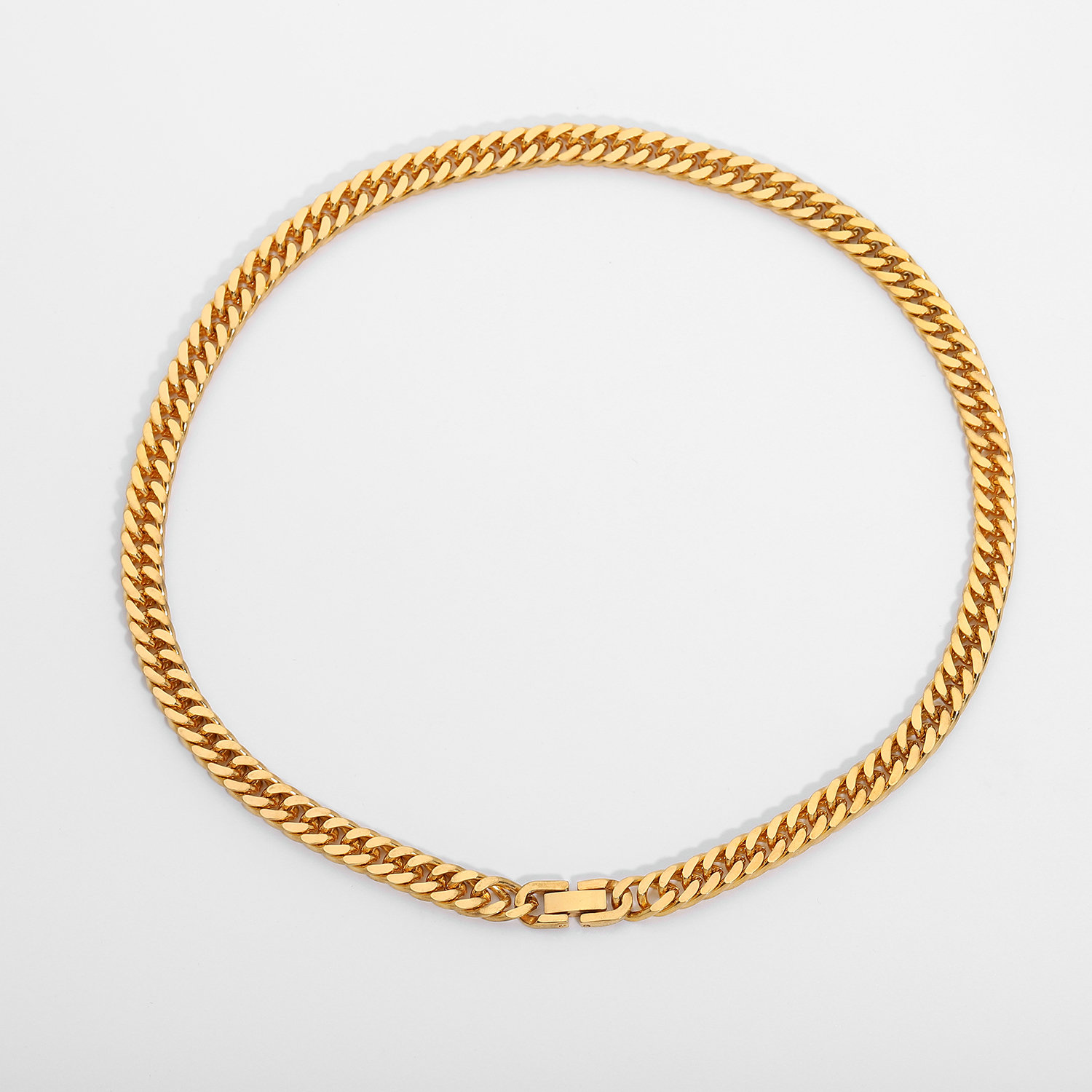 7.3mm Chunky gold Cuban Chain Necklace for women 18K Gold Plated Stainless Steel Miami Link Chain Choker Necklace