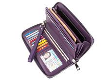 Модный женский кошелек из натуральной кожи с карманом для мобильного телефона, длинные женские кошельки, Дамский клатч, кошелек для монет, д...(Китай)