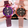 Women Fashion Watches Small Round Dial Quartz Time Learning Nylon Fabric Strap Quartz Wristwatch Waterproof Crystal Diamond