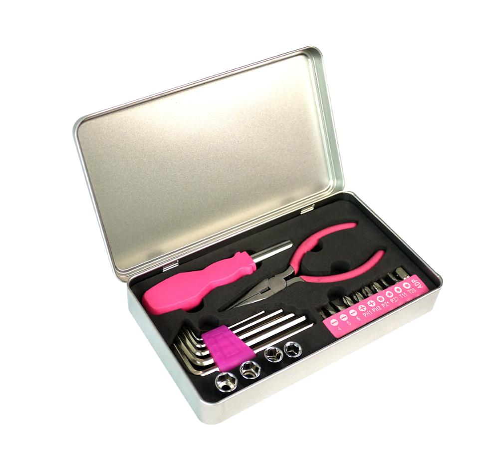 22pcs förderung rosa werkzeug zinn box set geschenk für frauen werkzeug kit