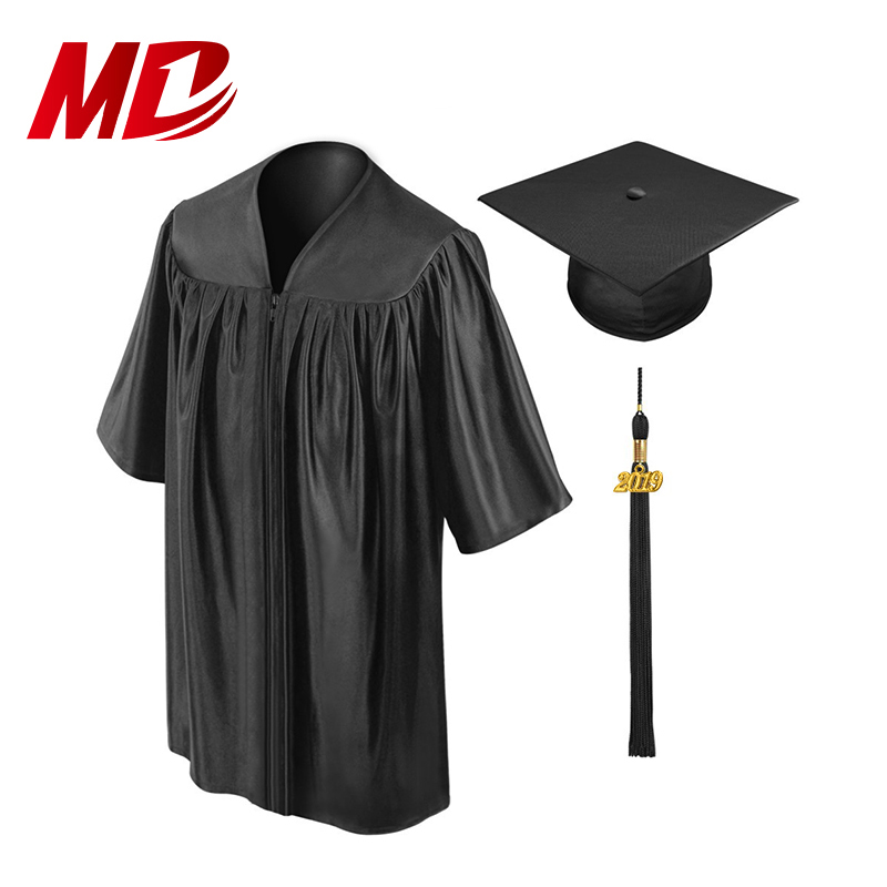Wholesale Kids Shiny Black Baby Graduation Cap and Gown