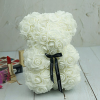 16 inch Everlasting Rose Flower Bear Artificial Foam Rose Bear 40cm for Valentines Day Anniversary Gift