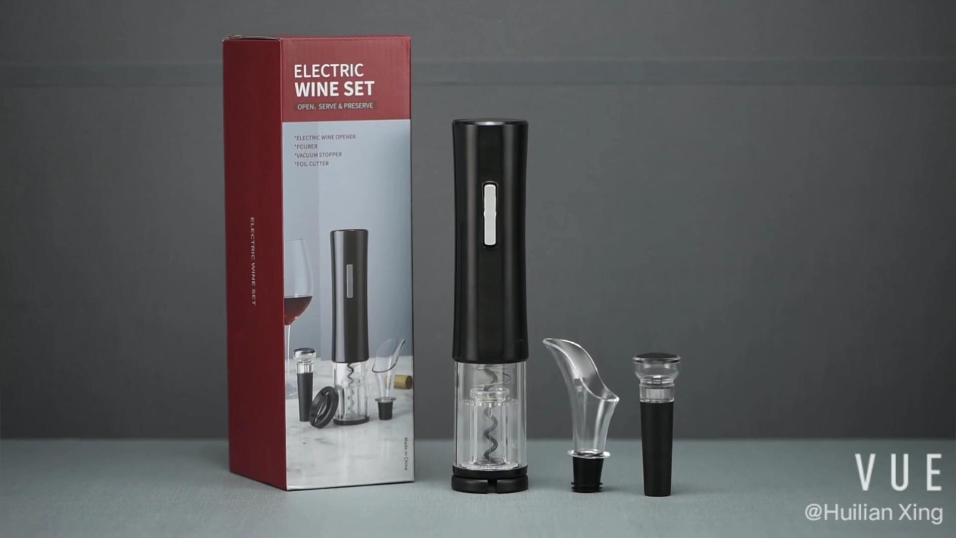 Fabrik Preis Automatische Cordless Elektrische Korkenzieher Wein Flasche Opener Set mit Korkenzieher