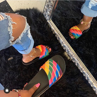 new women slippers with crystal lady colorful rhinestone slides women pool beach fashion sandals diamond flat slippers