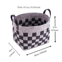 Two-Tone Eco-friendly Foldable Collapsible Felt Laundry Basket With PU Leather Handle