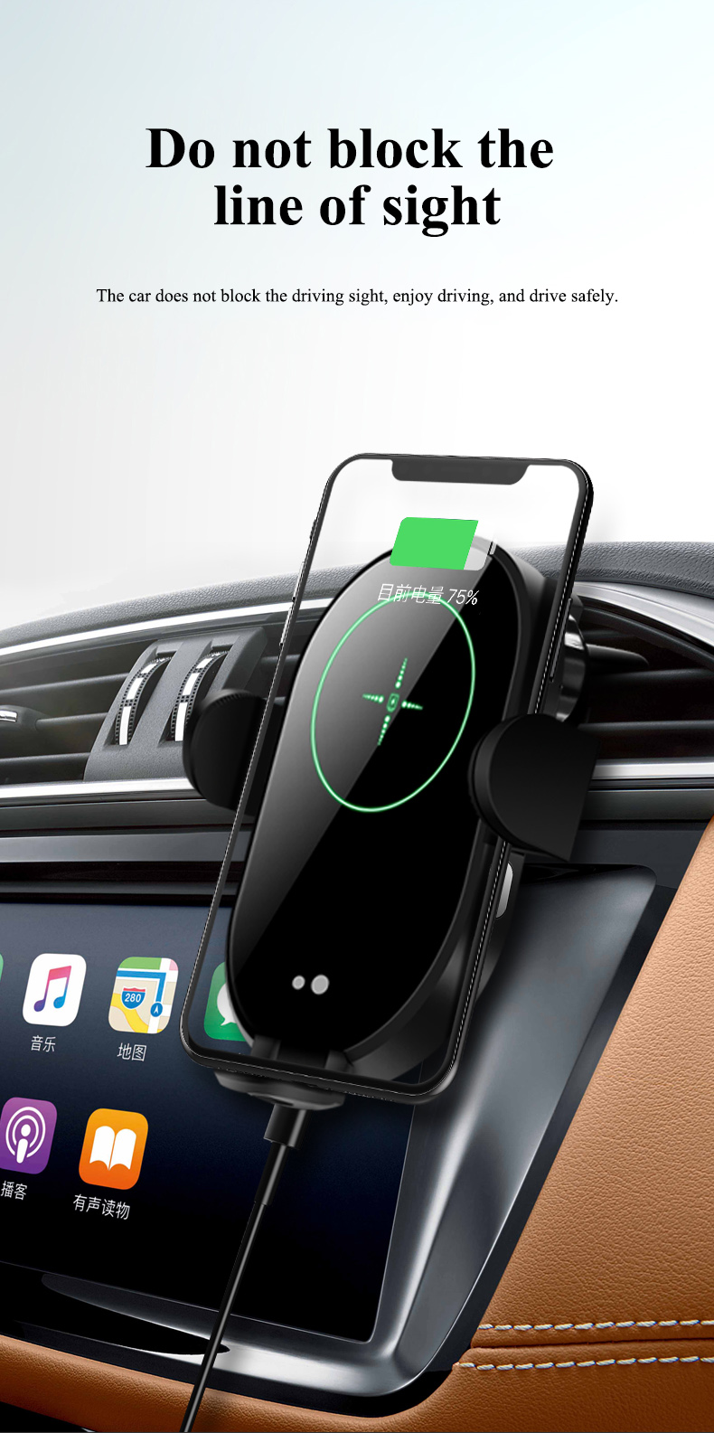 360 Rotation qi 15W Car Wireless Charger Infrared Sensor Automatic Wireless Car Mount Phone Holder Stand Gravity Air Outlet