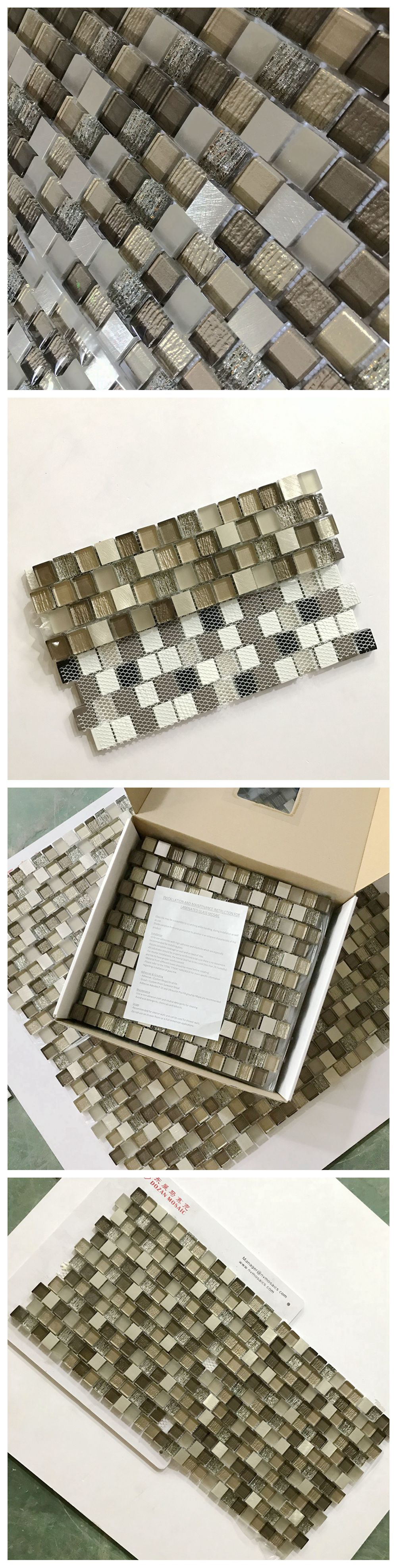 Glass Mix Brown Onyx Marble Mosaic Tile/Moonight Cheap Square White and Brown Glass Mosaic