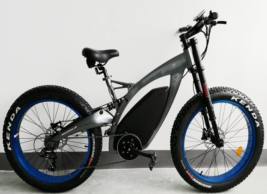 Hydraulic brake 26inch fat tire mid drive ebike 48v 500w 750W electric bicycle with suspension adjustable fork