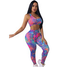 Fashion Women Yoga Pants Tie-Dyes Backless Cut Out Crop Top Suit Sport Wear