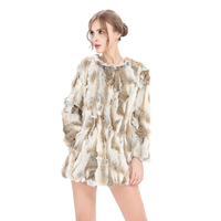 2019 Yiwu Hot Sale Ladies Winter Coats Rabbit Real Fur Coat For Women Waistcoat Winter Same Model Wholesale Lady Autumn Coat