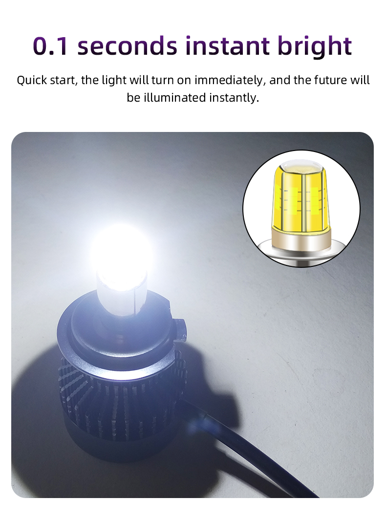New car LED headlights 360 degrees, 6 sides, super bright, 42W, 12000 lumen silent fan cooling H7 H11 9005 9006