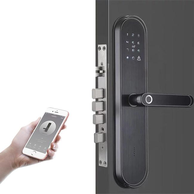 Gembok Pegangan Pintu Pintar Sidik Jari, Kunci Mortise Harga Kayu Biometrik Tanpa Kunci